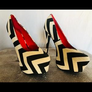 Black & White Zebra Stripes Heels with Red Insoles